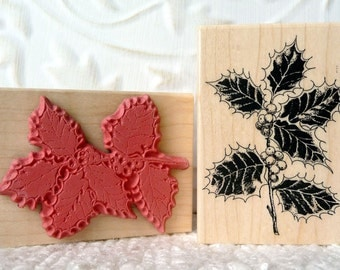 Variegated Holly rubber stamp from oldislandstamps