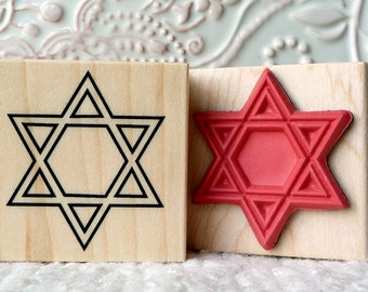 Star of David rubber stamp from oldislandstamps