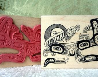 Wolf Whales Native Art rubber stamp from oldislandstamps