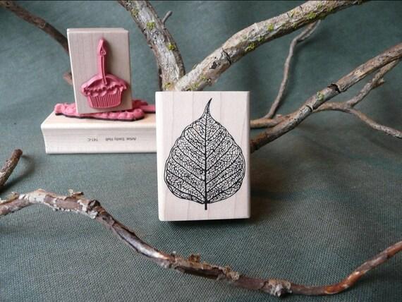 Skeleton Leaf rubber stamp from oldislandstamps
