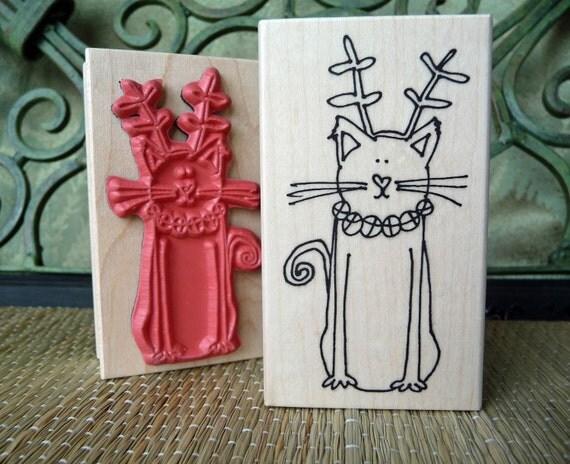 Christmas Cat rubber stamp from oldislandstamps