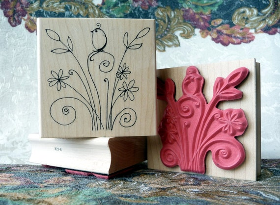 Feathers and Flowers rubber stamp from oldislandstamps