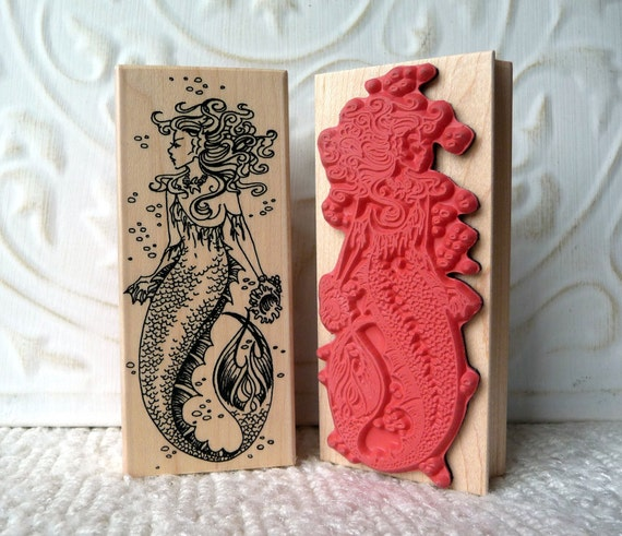 Mermaid rubber stamp from oldislandstamps
