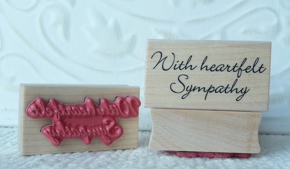 With heartfelt Sympathy text rubber stamp from oldislandstamps