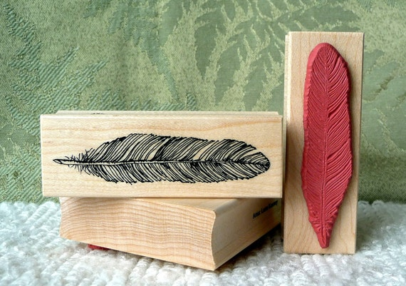 Feather rubber stamp from oldislandstamps