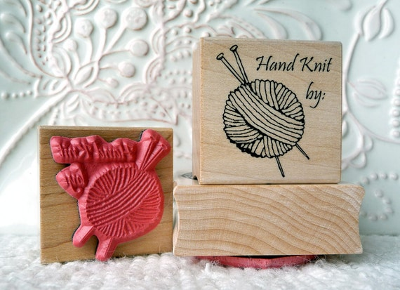 Hand Knit by rubber stamp from oldislandstamps