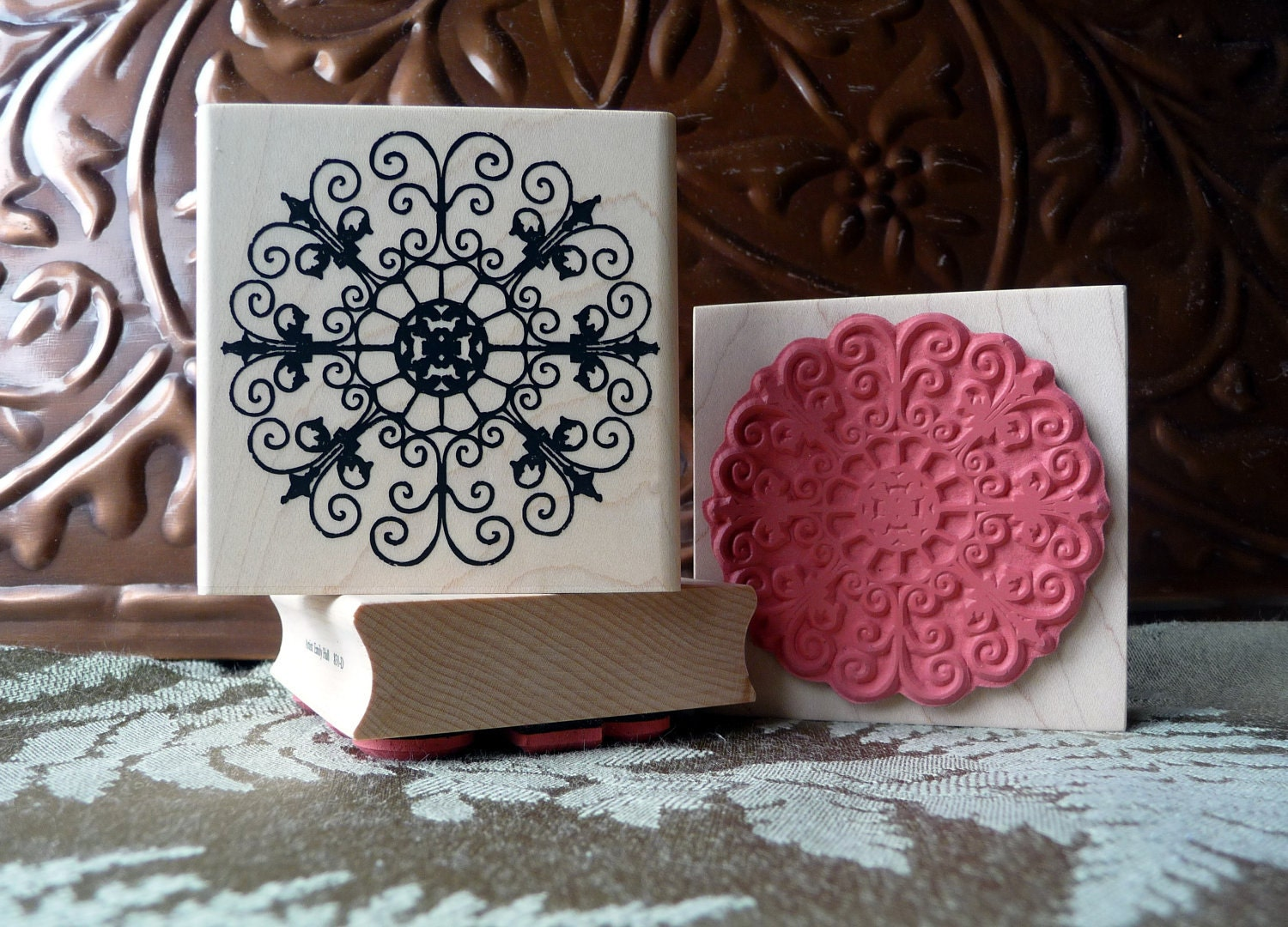 Iron Garden Medallion rubber stamp from by oldislandstamps on Etsy
