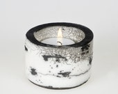 Koivu Birch range Raku Ceramic Tea Light Holder  'Kippo'  Black & White Monochrome OOAK - Maari