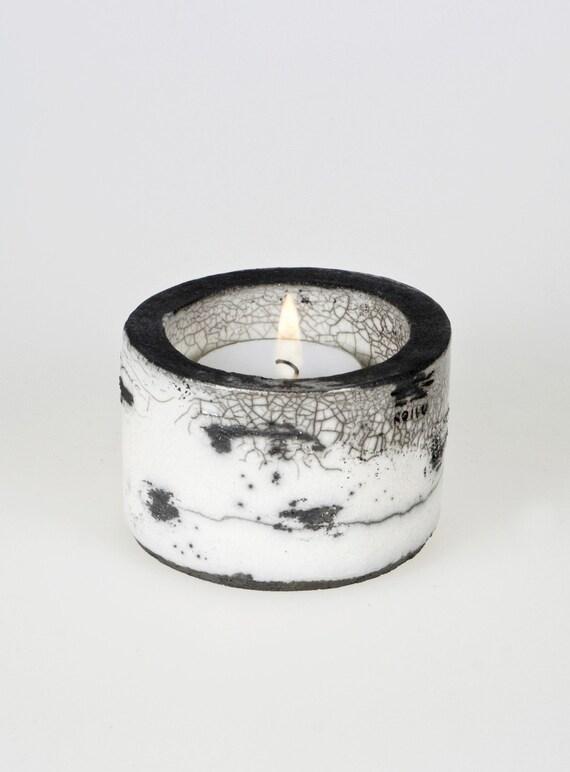 Koivu Birch range Raku Ceramic Tea Light Holder  'Kippo'  Black & White Monochrome OOAK