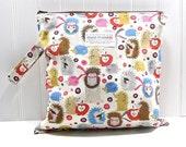 Wet Bag - Hedgehogs on Cream - Hypoallergenic - Waterproof - Eco Friendly - Reusable - Made to Order