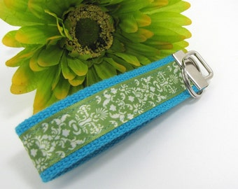 Keychain Wristlet - Wrist Key Fob - Key chain - Green and Cream Damask on turquoise