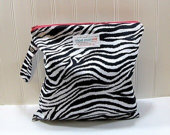 Wet Bag - Cloth Diaper Bag - Zebra - Waterproof - Eco Friendly - Made to Order