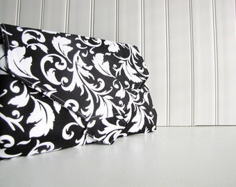 All-in-1 Changing Pad Diaper Clutch - WipeME 'N DipeME - Black and White Scrolls - Wipeable Waterproof lining - Made to Order