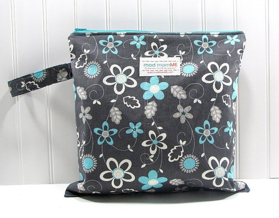 Wet Bag - Smoke Gray and Turquoise Flowers - Waterproof - Eco Friendly - Reusable - Made to Order