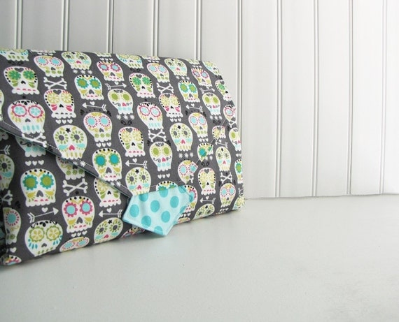 Diaper Clutch - Diaper Changing Pad Clutch - Bone Head Skulls with Sea Ta Dot - Made to Order