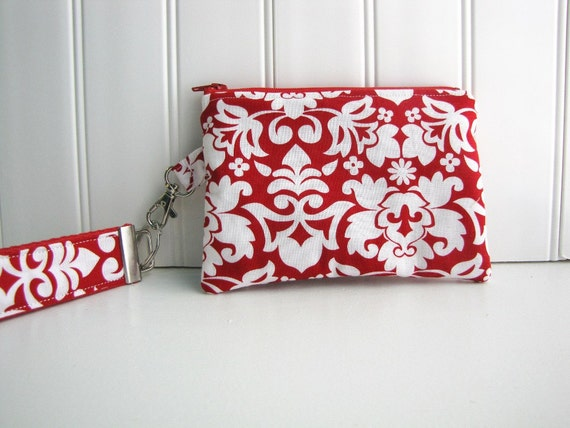 Change Purse - Small Zippered Clutch - Wristlet Clutch - Zippered Wallet - in Red Damask