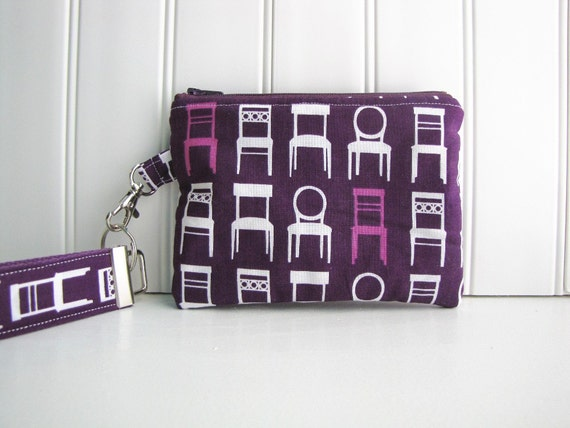 Wristlet Clutch - Small Zippered Clutch - Zippered Wallet - Mommy Clutch - in Tufted Tweets Purple