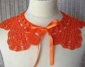 Hand Crocheted Orange Collar Necklace