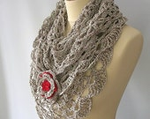 Grey and Ruby Lace Shawl