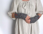 Dark Grey Arm Warmers Lace Fingerless Gloves Mittens