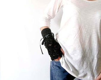Sparkling Black Arm Warmers Fingerless Gloves Lace Mittens