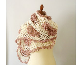 Lace Shawl with Roses