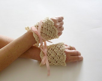 Cream Lace Cuffs  Bridal Victorian Style Wedding
