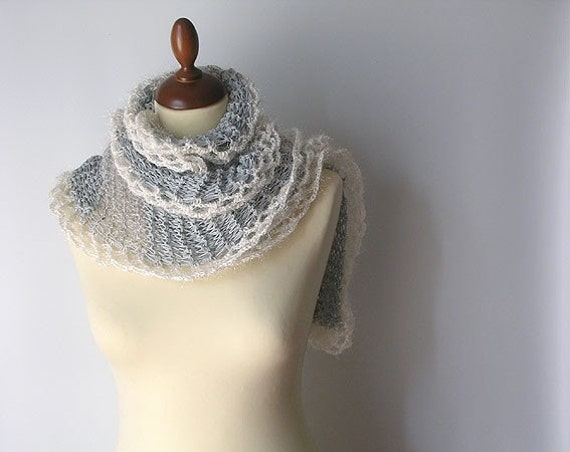 Light Weight Grey and Silver Scarflette