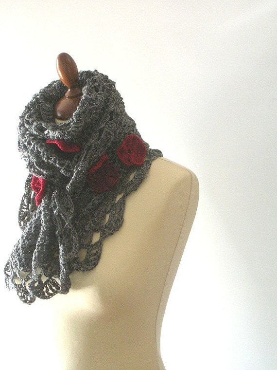 Grey Flowered Scarf
