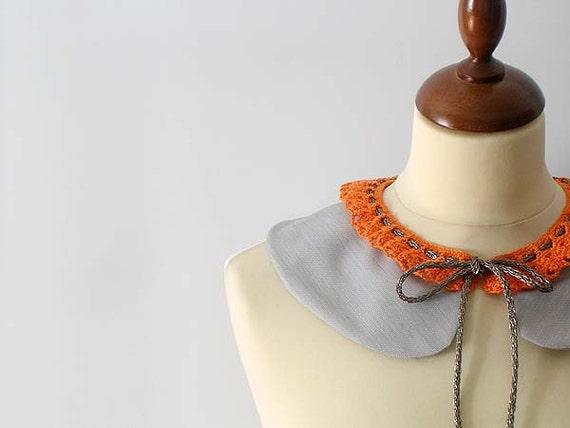 Grey Peter Pan Collar with Orange Lace