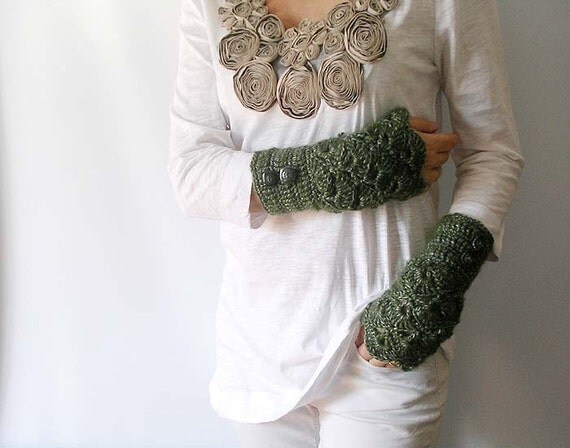 RESERVED FOR MELISSA Arm Warmers Sage Green Fingerless Gloves Mittens