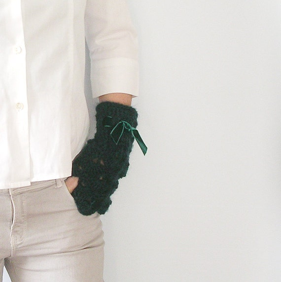 Deep Teal   Arm Warmer  Fingerless Gloves Mittens