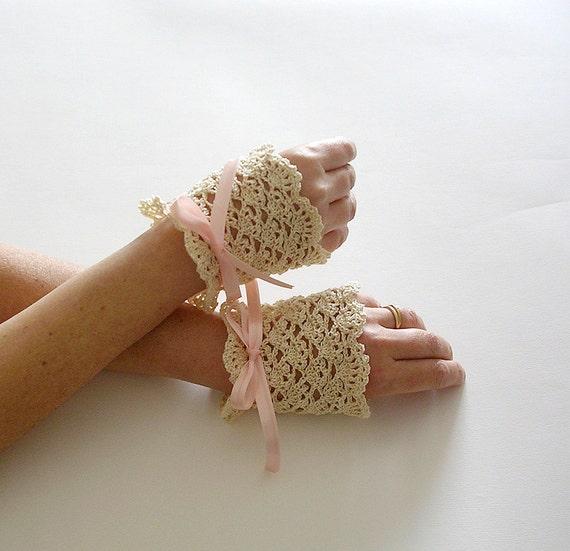 Cream Lace Cuffs  Bridal Victorian Style Wedding