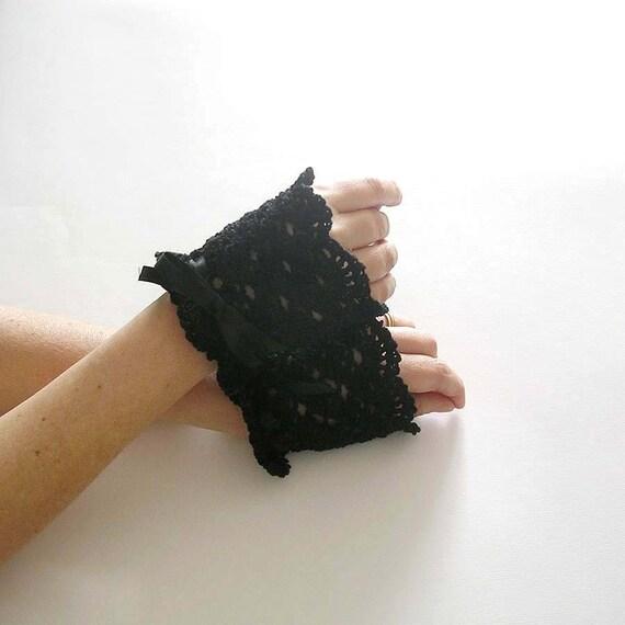 Black Lace Wrist Cuffs Crochet Bracelet Wristlet Bridal Victorian Style Wedding