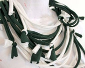 Forest Green and White Eco Friendly Textile Fabric Necklace Scarf