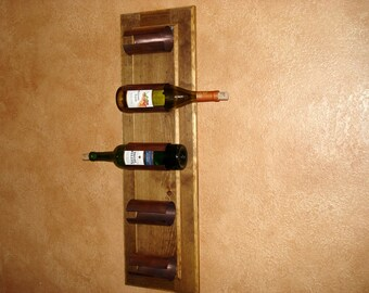 Recycled Wood and Copper Wine Rack