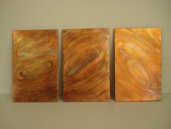 Copper Wall Art Tryptic,Flamed Colored and Patterned --Sale 25% off