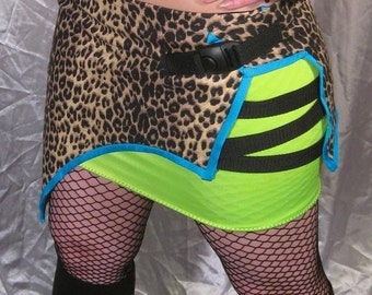 GALACTIC JUNGLE SKIRT Futuristic Cyber Goth Leopard Custom Made For You RoBoTIc KiTtY