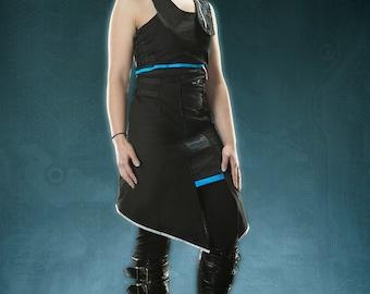 Pre Made DARK ZONE EMPRESS Dress futuristic cyber goth Black blue silver reflective Robotic Kitty