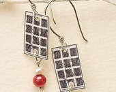 L'Ecole- antique image earrings with Sterling Silver and Freshwater Pearl- Hippopotame Jewelry Designs