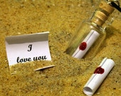"Personalised custom message in a bottle glass vial pendant with ""I Love You"" red wax sealed scroll- ideal for anniversary or valentines"