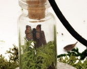Meadow walks miniature butterfly glass vial pendant with reindeer moss and a tiny fimo butterfly- woodland scene