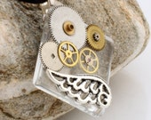 Steampunk Glass tile pendant with antique watch parts and silver plated wing- 'Time Flies'- Steampunk jewelry