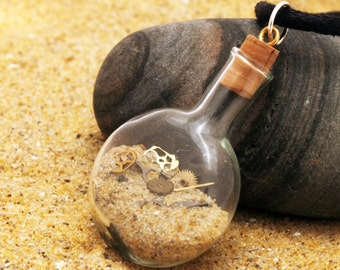 Sands of time- Steampunk mini Gears and cogs in a cognac bottle glass vial pendant- Great Christmas stocking stuffer