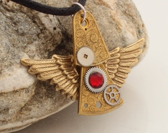 Steampunk angel pendant- vintage watch parts pendant with Swarovski crystals and wing charms- Steampunk jewelry