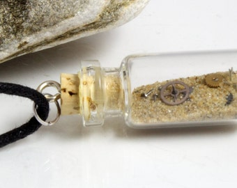Sands of time- Steampunk glass vial pendant with natural sand and vintage watch cogs and gears- Great Christmas stocking stuffer