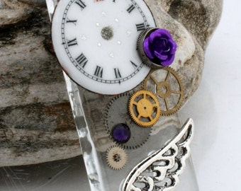 Steampunk glass tile pendant with antique enamel watch face, purple rose and Swarovski crystal- Steampunk jewelry