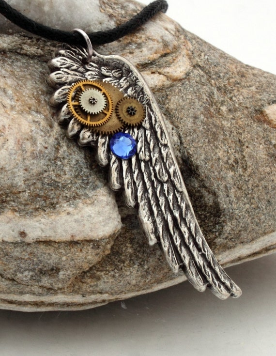 Steampunk wing pendant in antique silver with vintage watch parts and Swarovski crystal rhinestone- Steampunk jewelry
