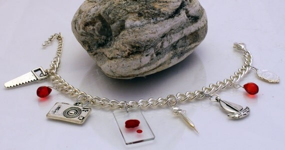 Unofficial Dexter Charm bracelet with individual blood sample glass slide, syringe and drop beads
