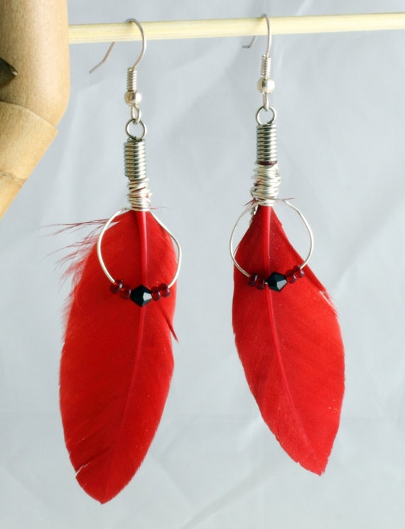 Red feather earrings with silver plated wire, Swarovski crystals and seed beads- bold, blood red